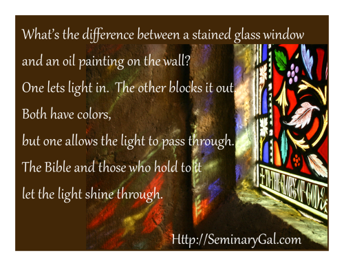 colors of glass in Christian light