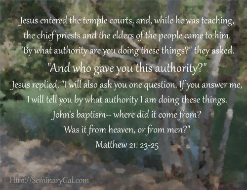 Jesus speaks on authority